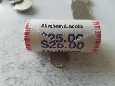 2010 Abraham Lincoln Presidential Dollar Roll - (25) Unc Coins - Bank Rolled