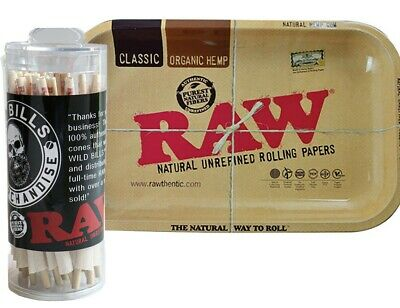 RAW Organic 1 1/4 Cones (75 Pack) with RAW Small Metal Tray