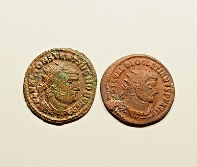 LOT OF 2 ANCIENT ROMAN IMPERIAL COINS - CONSTANTIUS I Chlorus & DIOCLETIAN