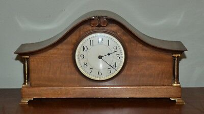 Antique Walnut Mantel Clock With French Movement Gilt Bronze Pillars And Feet