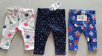 Baby Target Leggings X2 (Toucan And Buttons) & Kmart X1 (Spots), 000, All Bnwts