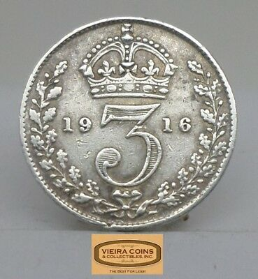 1916 Great Britain Silver 3 Pence, Threepence  - #C12966