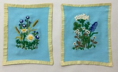 "Handmade Set of 2 Needlepoint Floral Pictures Unframed 7.5""x9"" Lovely Simplicity"