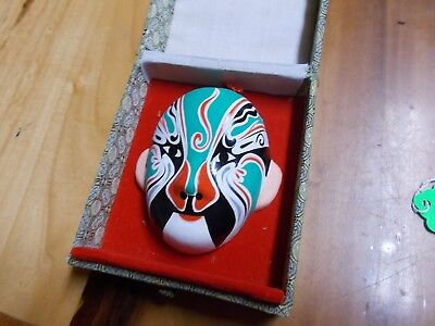 Vintage Small Chinese OPERA MASK In cloth covered box