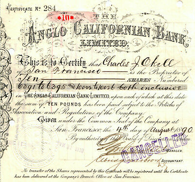 RARE 1ST ISS ANGLO-CALIFORNIA BANK STOCK (ca 1900) BECAME CROCKER & WELLS FARGO!