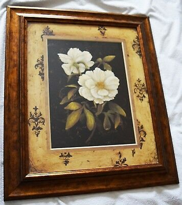 Beautiful Watercoulor Painting entitled 'Pewter Florals' in Antique Deorated Fra