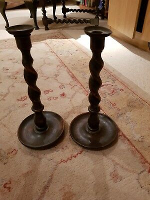 Vintage Pair Of Large Wooden Brass-Topped Barley Twist Candlesticks