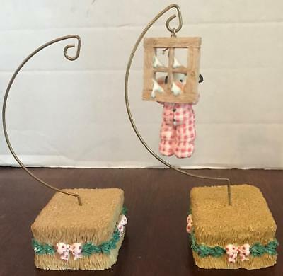 Mary's Moo Moos 2 Hay Bale Hanging Ornament Hanger Cow Window Snow Christmas