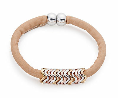 Tan / Beige Nubuck Leather Bracelet Three Tone Rose Gold Silver Zigzag  Charms