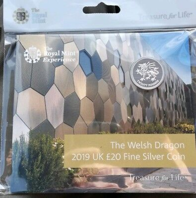 2019 New Royal Mint £20  The Welsh Dragon Uk Fine Silver Coin Pack