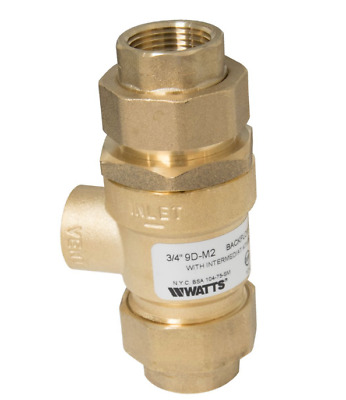 Watts Backflow Preventer Dual Check w/Atmospheric Vent # 1/2 9D-M3  EDP#0062670