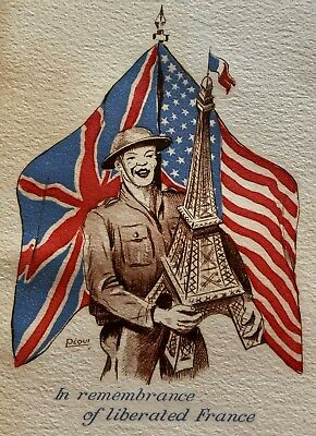 WW2 1944 LIBERATED FRANCE UK USA French Flags Eiffel Tower Solder Christmas card