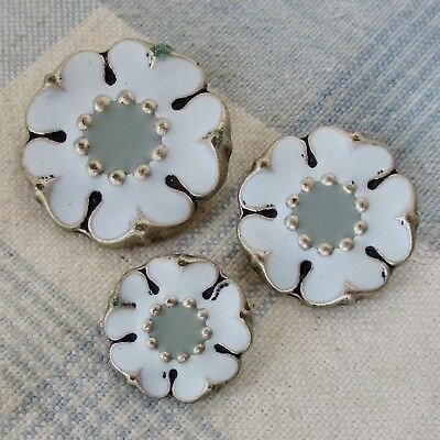 Set of 3 Vintage Cast White Metal Flower Buttons w Enamel, Made in Holland