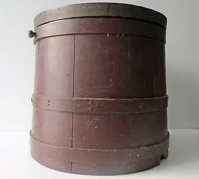 """Antique Brown Painted Wood Firkin with Cover 14"""""""