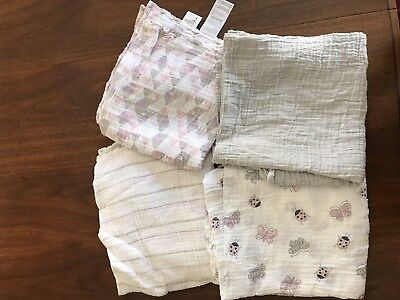 4 Baby Girl Muslin Swaddle Blankets Aden + Anais