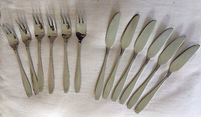 Old Hall Cutlery - Campden Pattern - Set of 6 Fish Knives and Forks - Vintage