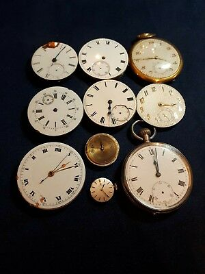 job lot of pocket watches/ movements plus one wristwatch movement spares/ repair