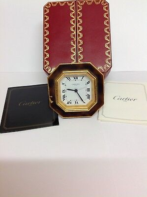 Vintage Gilt Genuine Cartier Mechanical Alarm Clock Cased/Paperwork Working