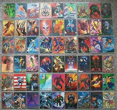 Complete set of 90 SkyBox Marvel Masterpieces Trading Cards from 1993