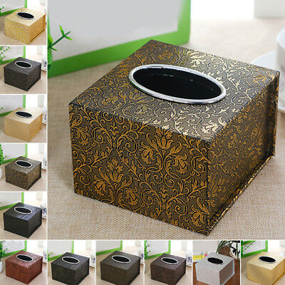 Retro Stylish Tissue Box Faux Leather Home Office Tissue Holder High Quality