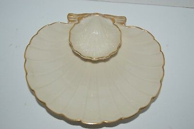Vintage Lenox China Gold Rimmed Shell Shaped Chip Dip Serving Dish