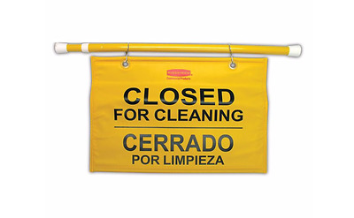 Rubbermaid Safety Sign Closed for Cleaning Blocks Access To Toilet Commercial