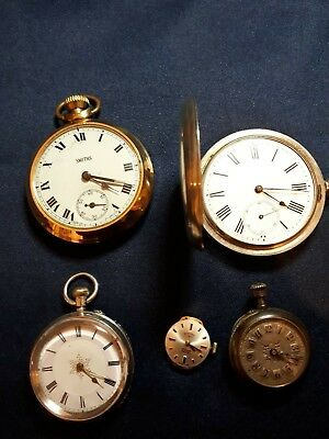 Job lot working pocket watches plus one Rotary wristwatch movement- working.