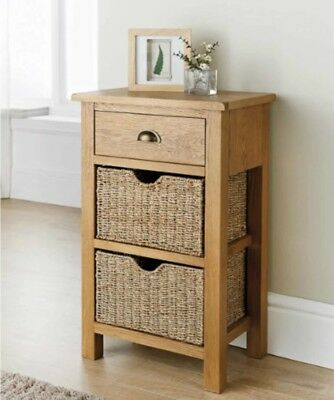 Wiltshire Luxury Oak Small Console Table with Two Seagrass Baskets