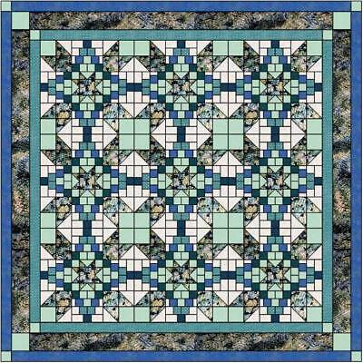 Quilt Kit/Roundabout Shades of Blue and Green/Precut Ready To Sew/Queen