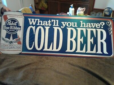 Pabst Blue Ribbon Cold Beer Metal Tin Tacker Sign What'll You Have, Large 39x15