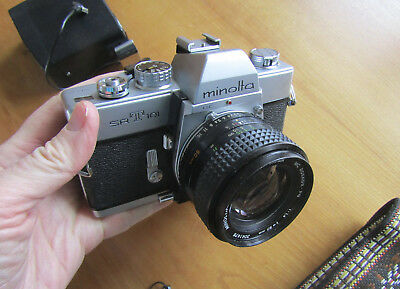 Vintage 35mm film camera Minolta SRT101, flash, closeup lenses, cable release &