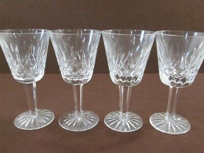Four Waterford Lismore Crystal White Wine Goblets 5 7/8 in tall.