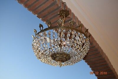 Antique French  Large Cage Crystal Chandelier