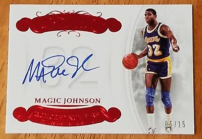 Magic Johnson 2017-18 Panini Flawless Honored Numbers Ruby Auto #5/15 Autograph