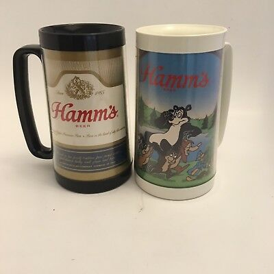 Vintage Lot Of Two Hamms Thermo-Serv Plastic Beer Mugs