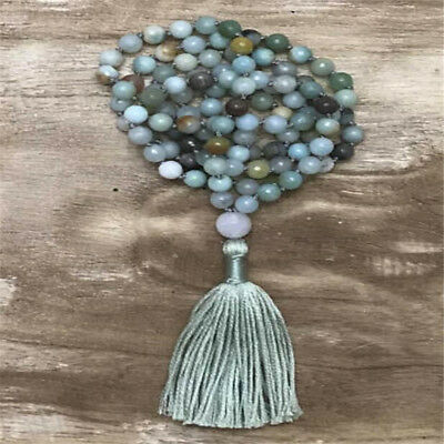 Amazonite Knot necklace Fancy mala0 chain malaenergy malamala Healing Reiki