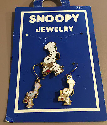 Snoopy Vintage Cloisonne Chef Pin & Earrings