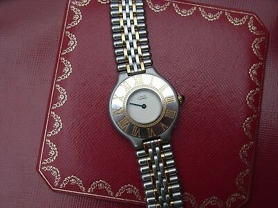 Must de Cartier 21 Stainless Steel & Gold Ladies Quartz Watch 1990's Near Mint