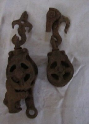 Pair of Vintage/Antique Cast Iron Double Pulleys – 1800s