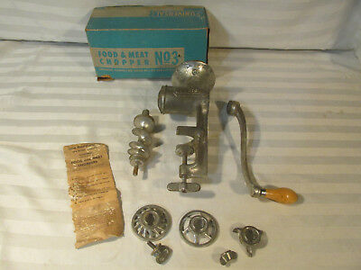 VTG 50s FOOD MEAT CHOPPER GINDER NO 3 HAND CRANK RETRO COUNTRY KITCHEN DISPLAY