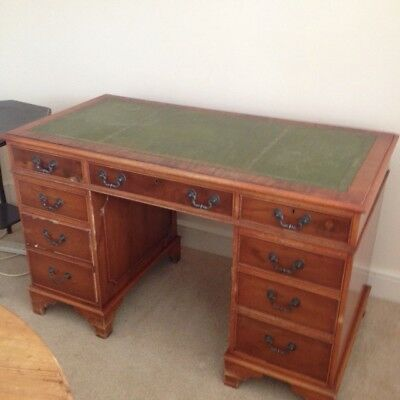 Antique Style Twin Pedestal Desk With Green Leather Top