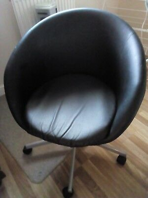 Awesome Wonderful Retro Egg Chair Vintage Black Vinyl Swivel Short Links Chair Design For Home Short Linksinfo