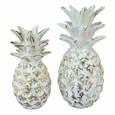 Coastal Beach House carved pineapple table decor set of 2