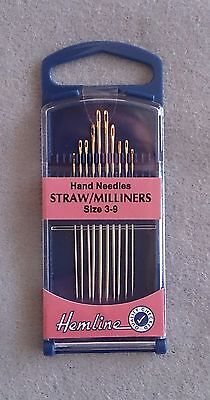 Straw Milliners hand needles size 3-9 in packs of 10
