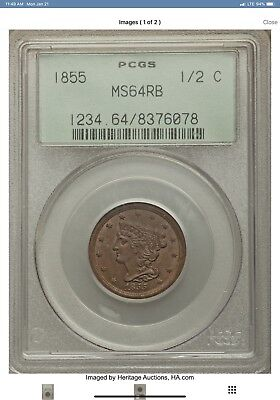 1855 Braided Hair Half Cent PCGS graded MS64RB  1/2C Very Low Mintage