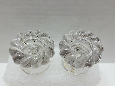 Antique / Vintage Set of Clear Glass 12 Point Door Pulls / Knobs