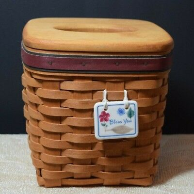 LONGABERGER VINTAGE 1994 Father's Day Tissue Basket 18490 w/ Liner - Made in USA