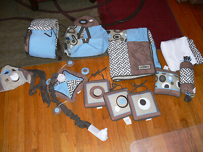 GEENNY Boutique Scribble Blue/Brown Nursery Bedding 14pc Set w/ Mobile Curtains