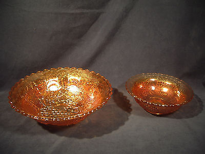 Carnival Glass Bowls Lot of 2 Large Small Marigold Orange Grapes Vtg Imperial