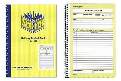 2 X Spirax 556 Delivery Docket Book Carbonless 50 Duplicate Sets